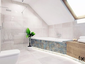 ŁAZIENKA BOLECHOWICE III - Duża łazienka na poddaszu w domu jednorodzinnym z oknem, styl eklektyczny - zdjęcie od FORMA - Pracownia Architektury Wnętrz i Krajobrazu