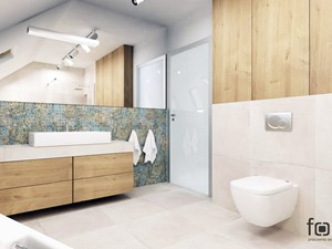 ŁAZIENKA BOLECHOWICE III - Duża szara łazienka na poddaszu w domu jednorodzinnym z oknem, styl eklektyczny - zdjęcie od FORMA - Pracownia Architektury Wnętrz i Krajobrazu