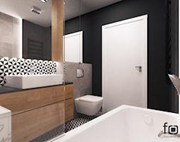 ŁAZIENKA DĄBSKA - Mała czarna łazienka w bloku w domu jednorodzinnym bez okna, styl nowoczesny - zdjęcie od FORMA - Pracownia Architektury Wnętrz i Krajobrazu