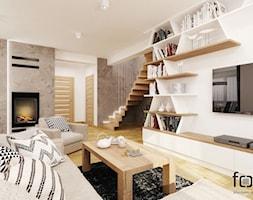DOM KOKOTÓW - Duży szary biały salon, styl nowoczesny - zdjęcie od FORMA - Pracownia Architektury Wnętrz i Krajobrazu