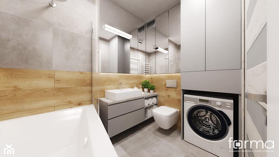 ŁAZIENKA WROCŁAWSKA - Mała beżowa szara łazienka w bloku w domu jednorodzinnym, styl nowoczesny - zdjęcie od FORMA - Pracownia Architektury Wnętrz i Krajobrazu