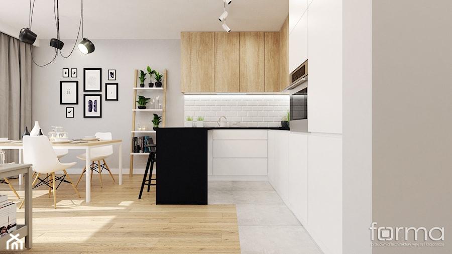 DOM ZIELNA - Mała otwarta biała szara kuchnia w kształcie litery u w aneksie, styl skandynawski - zdjęcie od FORMA - Pracownia Architektury Wnętrz
