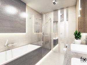 ŁAZIENKA CHOPINA - Średnia beżowa łazienka w bloku w domu jednorodzinnym bez okna, styl nowoczesny - zdjęcie od FORMA - Pracownia Architektury Wnętrz i Krajobrazu