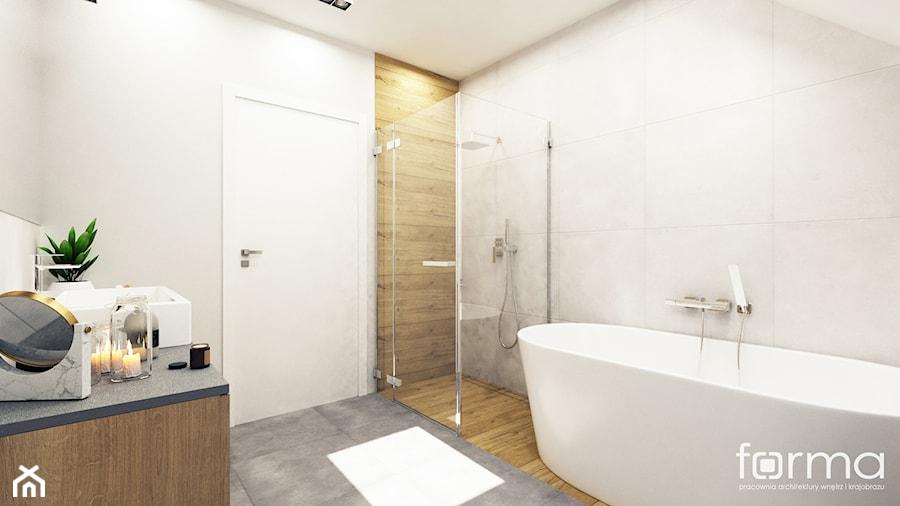 ŁAZIENKA KOWALSKA - Średnia szara łazienka na poddaszu w bloku w domu jednorodzinnym bez okna, styl nowoczesny - zdjęcie od FORMA - Pracownia Architektury Wnętrz i Krajobrazu