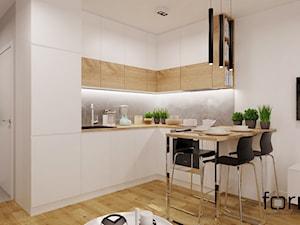 MIESZKANIE DĄBIE PARK - Mała otwarta biała szara kuchnia w kształcie litery l, styl nowoczesny - zdjęcie od FORMA - Pracownia Architektury Wnętrz i Krajobrazu