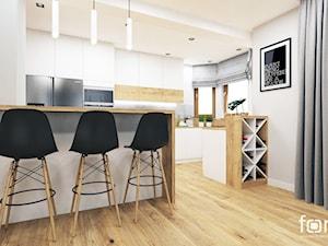 KUCHNIA RUCZAJ - Średnia otwarta szara kuchnia w kształcie litery u z wyspą z oknem, styl nowoczesny - zdjęcie od FORMA - Pracownia Architektury Wnętrz i Krajobrazu