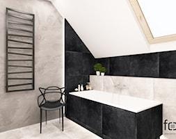 ŁAZIENKA WIELICZKA - Mała czarna szara łazienka na poddaszu w domu jednorodzinnym z oknem, styl industrialny - zdjęcie od FORMA - Pracownia Architektury Wnętrz i Krajobrazu
