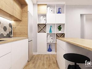 MIESZKANIE KUZNICA KOŁŁĄTAJOWSKA - Średnia otwarta szara kuchnia dwurzędowa w aneksie, styl skandynawski - zdjęcie od FORMA - Pracownia Architektury Wnętrz i Krajobrazu