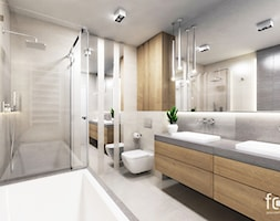 ŁAZIENKA CHOPINA - Średnia łazienka w bloku w domu jednorodzinnym bez okna, styl nowoczesny - zdjęcie od FORMA - Pracownia Architektury Wnętrz i Krajobrazu