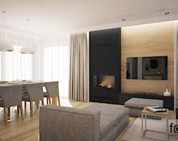 DOM SKAWINA - Średni kolorowy salon z jadalnią, styl nowoczesny - zdjęcie od FORMA - Pracownia Architektury Wnętrz i Krajobrazu