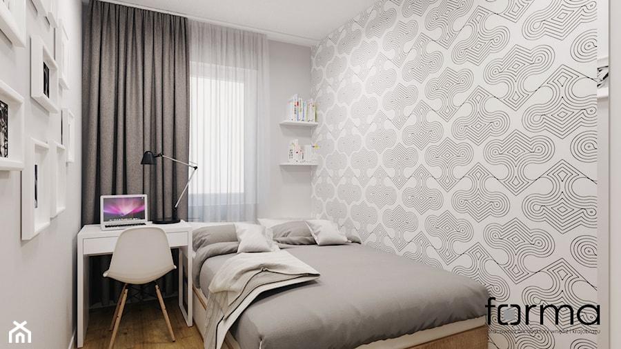 MIESZKANIE DĄBIE PARK - Mała szara sypialnia dla gości małżeńska, styl nowoczesny - zdjęcie od FORMA - Pracownia Architektury Wnętrz