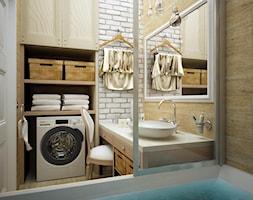 Mała biała beżowa łazienka w bloku bez okna, styl eklektyczny - zdjęcie od FORMA - Pracownia Architektury Wnętrz i Krajobrazu