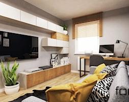 SALON ZACHODNIA - Mały szary czarny salon, styl nowoczesny - zdjęcie od FORMA - Pracownia Architektury Wnętrz i Krajobrazu
