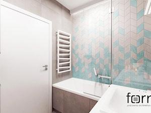 ŁAZIENKA DĄBIE PARK - Średnia niebieska szara łazienka w bloku w domu jednorodzinnym bez okna, styl nowoczesny - zdjęcie od FORMA - Pracownia Architektury Wnętrz i Krajobrazu