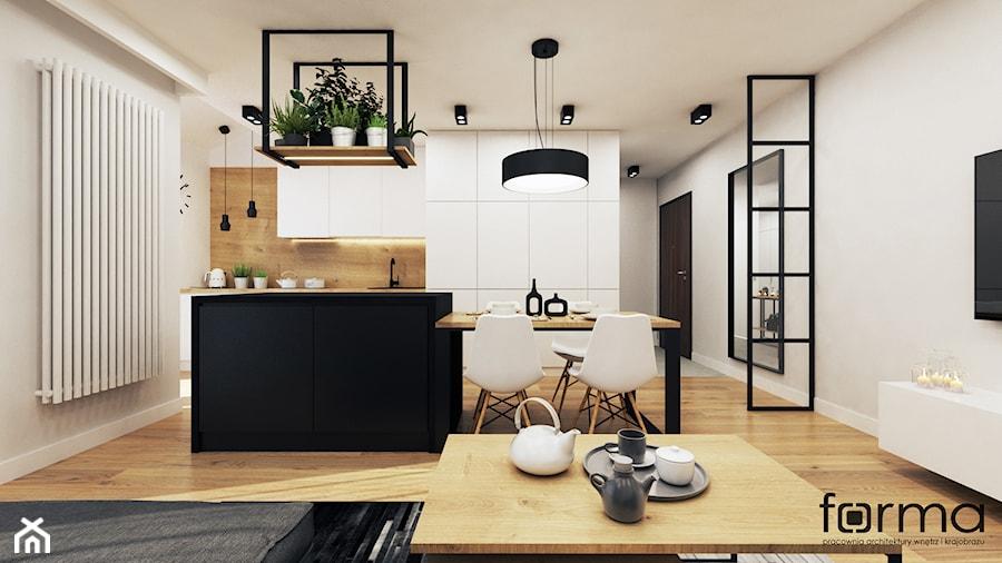 WILLA SŁOWICZA - Średni szary salon z kuchnią z jadalnią, styl industrialny - zdjęcie od FORMA - Pracownia Architektury Wnętrz