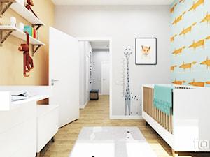 POKÓJ DZIĘCIĘCY ZIELONY NUGAT - Średni szary żółty niebieski pokój dziecka dla chłopca dla dziewczynki dla niemowlaka, styl eklektyczny - zdjęcie od FORMA - Pracownia Architektury Wnętrz i Krajobrazu