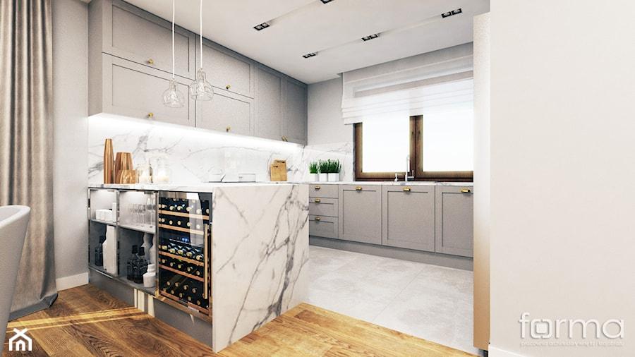 DOM ZABIERZÓW - Średnia otwarta biała kuchnia w kształcie litery g z oknem, styl nowojorski - zdjęcie od FORMA - Pracownia Architektury Wnętrz i Krajobrazu