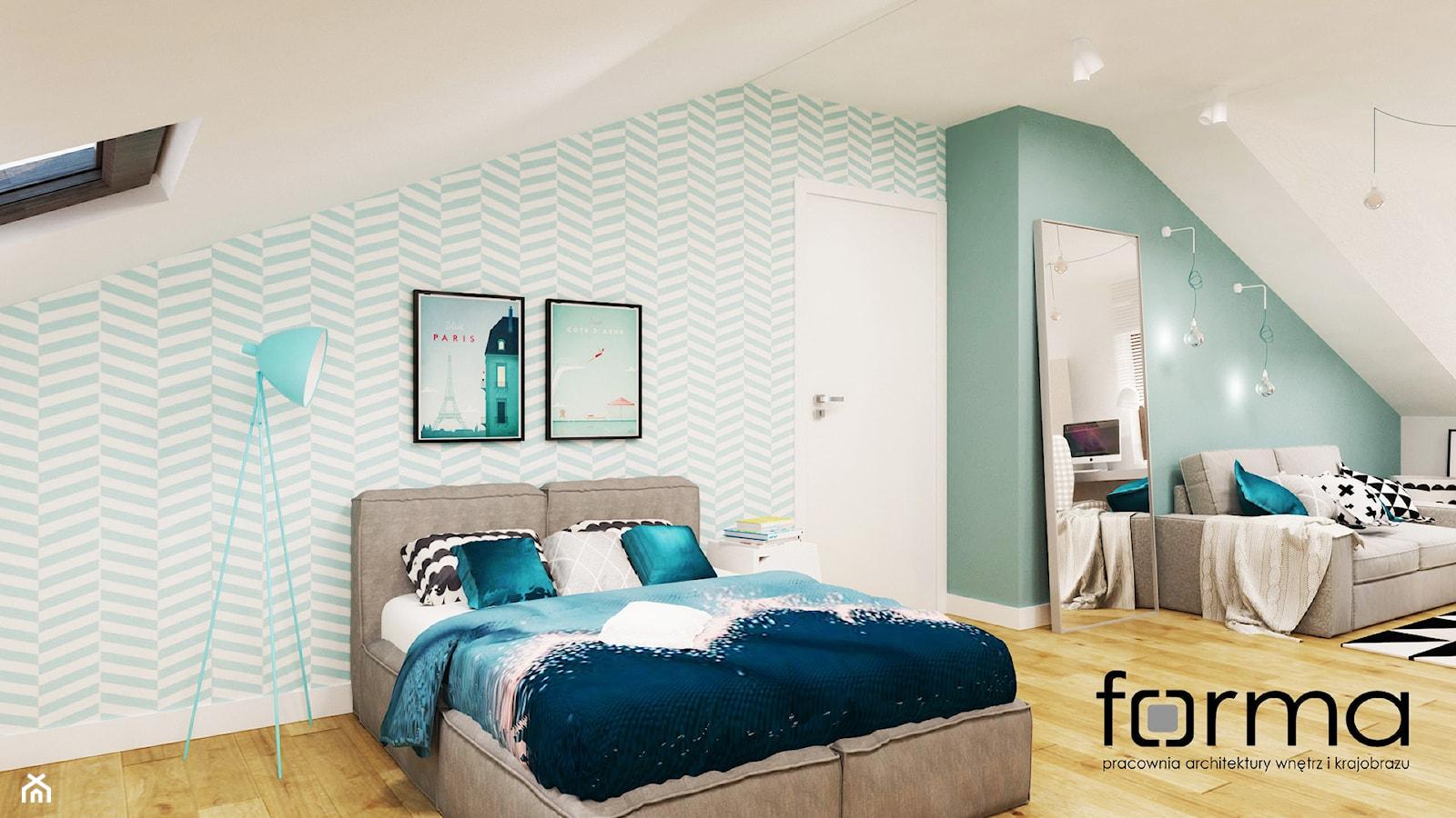 POKÓJ NASTOLATKI - Duży biały zielony pokój dziecka dla chłopca dla dziewczynki dla nastolatka, styl nowoczesny - zdjęcie od FORMA - Pracownia Architektury Wnętrz - Homebook