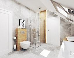 ŁAZIENKA ZABIERZÓW - Duża biała szara łazienka na poddaszu w domu jednorodzinnym z oknem, styl nowoczesny - zdjęcie od FORMA - Pracownia Architektury Wnętrz i Krajobrazu