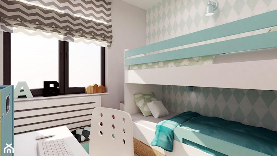 POKÓJ DZIEWCZYNEK - Mały biały szary zielony pokój dziecka dla chłopca dla dziewczynki dla rodzeństwa dla ucznia dla malucha dla nastolatka, styl nowoczesny - zdjęcie od FORMA - Pracownia Architektury Wnętrz i Krajobrazu