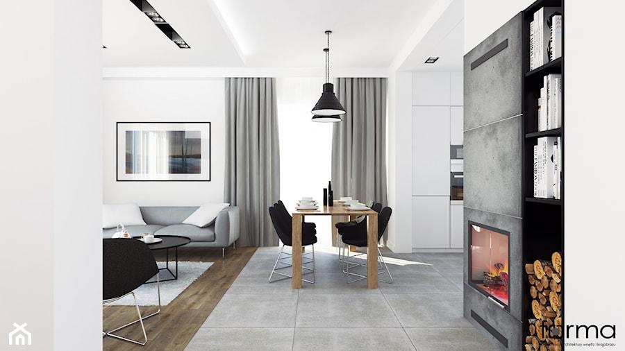 DOM WIELICZKA - Duży biały salon z jadalnią, styl nowoczesny - zdjęcie od FORMA - Pracownia Architektury Wnętrz