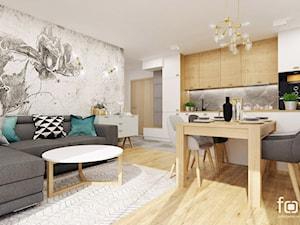 MIESZKANIE RYDYGIERA - Średni szary biały beżowy salon z kuchnią z jadalnią, styl eklektyczny - zdjęcie od FORMA - Pracownia Architektury Wnętrz