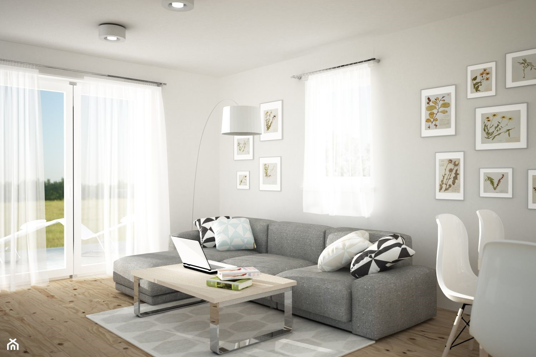 Średni biały salon z jadalnią z tarasem / balkonem, styl skandynawski - zdjęcie od FORMA - Pracownia Architektury Wnętrz - Homebook