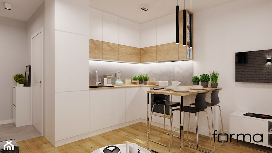 MIESZKANIE DĄBIE PARK - Średnia otwarta kuchnia w kształcie litery l, styl nowoczesny - zdjęcie od FORMA - Pracownia Architektury Wnętrz