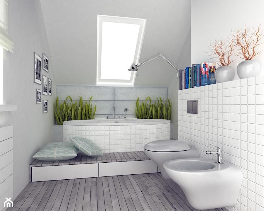 Średnia łazienka na poddaszu, styl skandynawski - zdjęcie od FORMA - Pracownia Architektury ...