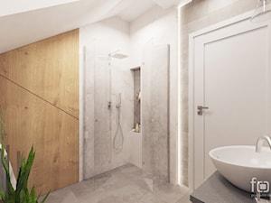 ŁAZIENKA 2 ZABIERZÓW - Średnia biała szara łazienka na poddaszu, styl nowojorski - zdjęcie od FORMA - Pracownia Architektury Wnętrz i Krajobrazu