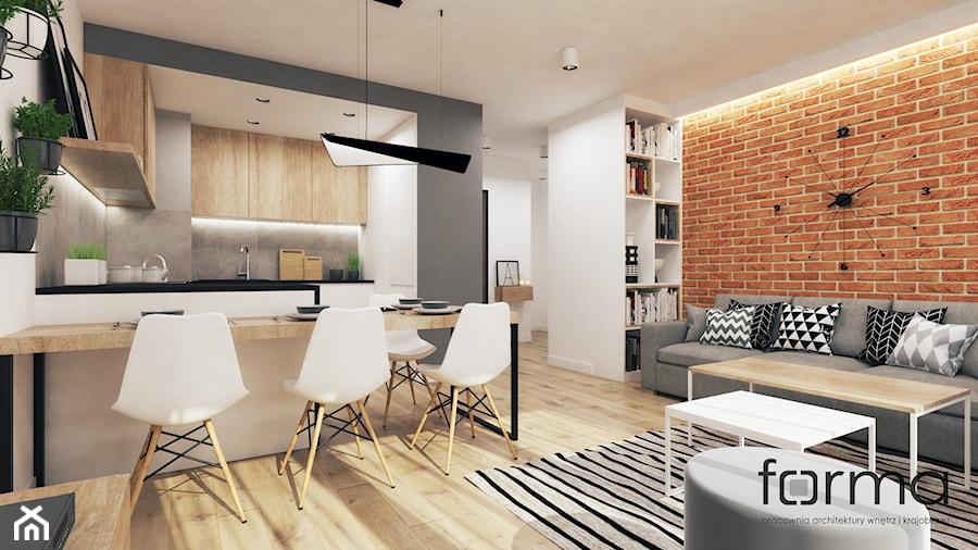 MIESZKANIE ZALESIE - Mały szary biały brązowy salon z kuchnią z jadalnią, styl nowoczesny - zdjęcie od FORMA - Pracownia Architektury Wnętrz i Krajobrazu