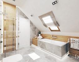 ŁAZIENKA ZABIERZÓW - Średnia biała łazienka na poddaszu w domu jednorodzinnym z oknem, styl nowoczesny - zdjęcie od FORMA - Pracownia Architektury Wnętrz i Krajobrazu