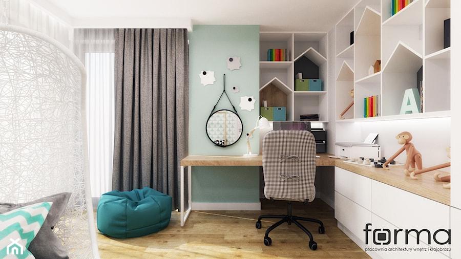 POKÓJ LENKI - Mały biały zielony pokój dziecka dla chłopca dla dziewczynki dla ucznia dla malucha dla nastolatka, styl skandynawski - zdjęcie od FORMA - Pracownia Architektury Wnętrz