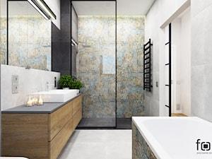 ŁAZIENKA KOKOSOWA - Średnia łazienka w bloku w domu jednorodzinnym bez okna, styl industrialny - zdjęcie od FORMA - Pracownia Architektury Wnętrz i Krajobrazu