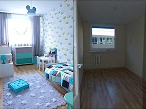 metamorfoza dwóch połączonych mieszkań - Mały szary pokój dziecka dla chłopca dla dziewczynki dla ucznia dla malucha, styl skandynawski - zdjęcie od mar.sza