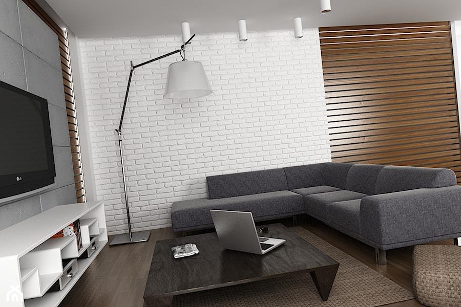Drewno ceg a i beton w wersji minimalistycznej zdj cie for Biala cegla w salonie
