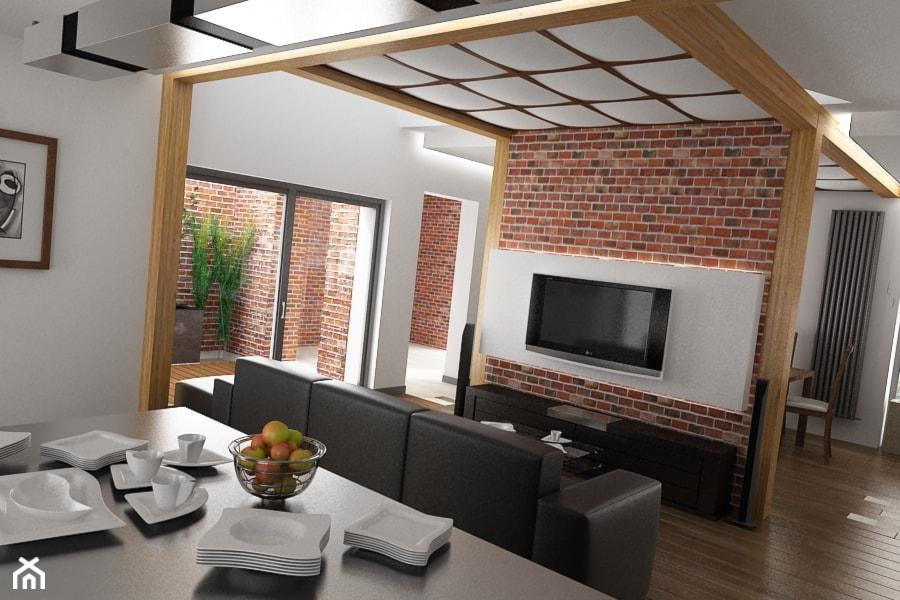 Ceg a w kontek cie nowoczesnego budynku zdj cie od for Biala cegla w salonie