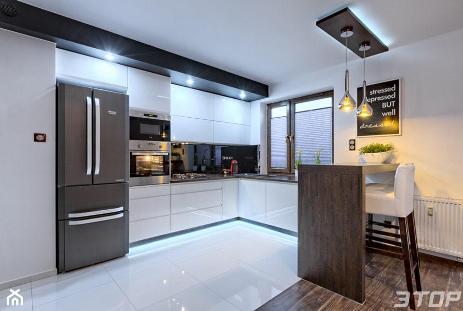 Zabudowa Meblowa Kuchni średnia Otwarta Biała Kuchnia W