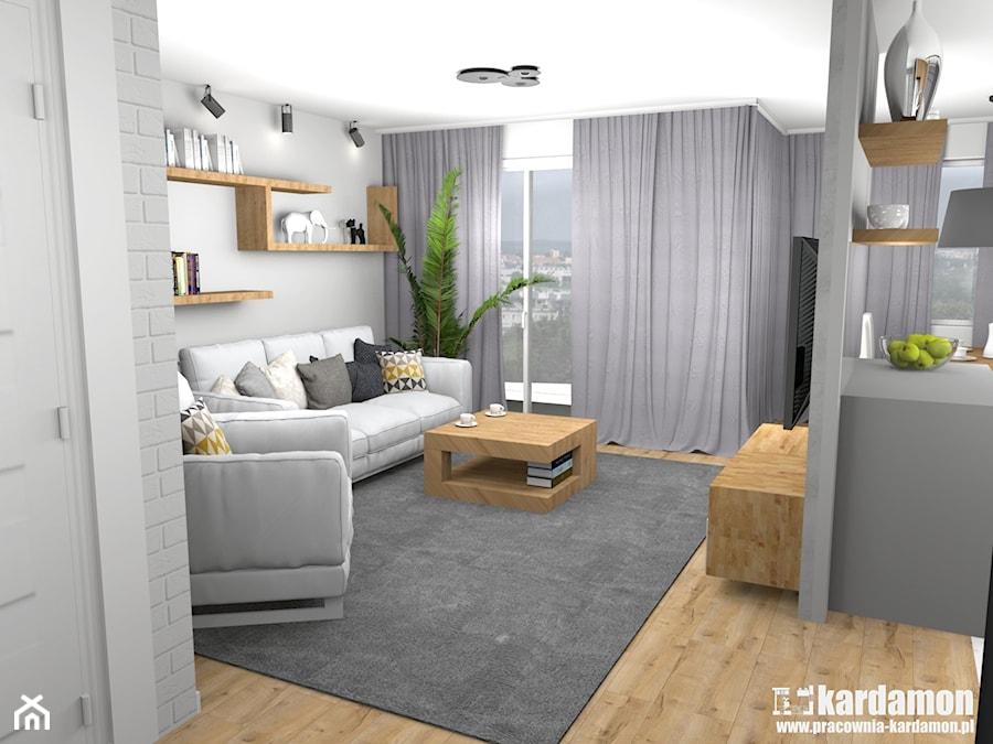 Ciepłe szarości w bloku ze ścianką TV - Średni szary salon z tarasem / balkonem, styl tradycyjny - zdjęcie od Pracownia Kardamon
