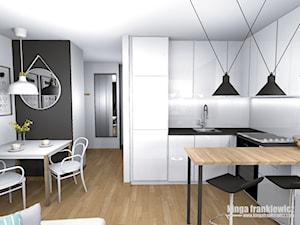 Męski świat 37m2 - Średnia otwarta biała kuchnia w kształcie litery u w aneksie, styl minimalistyczny - zdjęcie od Pracownia Kardamon