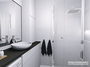 Męski świat 37m2 - Mała biała łazienka w bloku w domu jednorodzinnym bez okna, styl minimalistyczny - zdjęcie od Pracownia Kardamon