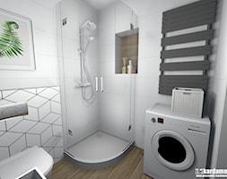 Zgrabne mieszkanie pod wynajem 27m2 - Mała biała łazienka na poddaszu w bloku w domu jednorodzinnym bez okna, styl minimalistyczny - zdjęcie od Pracownia Kardamon