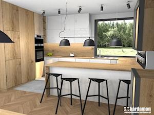 Przytulny dom w Zabierzowie k. Krakowa - Średnia otwarta biała szara kuchnia w kształcie litery g w aneksie z oknem, styl nowoczesny - zdjęcie od Pracownia Kardamon