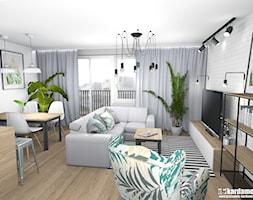 Mieszkanie usłane roślinami - Średni biały salon z bibiloteczką z jadalnią z tarasem / balkonem, st ... - zdjęcie od Pracownia Kardamon - Homebook