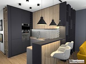 Mieszkanie w Krakowie z charakterem - Mała otwarta biała czarna kuchnia w kształcie litery u w aneksie, styl industrialny - zdjęcie od Pracownia Kardamon