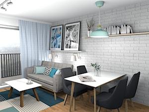Spokojne mieszkanie z mięta i białą cegłą 19m2