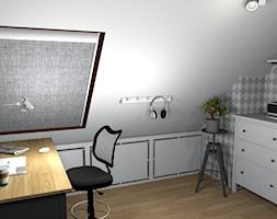 Przytulne mieszkanie na poddaszu - Małe szare biuro kącik do pracy na poddaszu, styl skandynawski - zdjęcie od Pracownia Kardamon