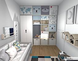Mieszkanie w Krakowie z charakterem - Mały biały szary pokój dziecka dla chłopca dla malucha, styl skandynawski - zdjęcie od Pracownia Kardamon