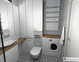 Sielanka domowa w mieszkaniu w bloku - Mała szara łazienka w bloku w domu jednorodzinnym bez okna, styl skandynawski - zdjęcie od Pracownia Kardamon
