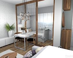 Elegancki salon z wydzieloną sypialnią 26m2 - Mała biała szara sypialnia małżeńska, styl nowoczesny - zdjęcie od Pracownia Kardamon